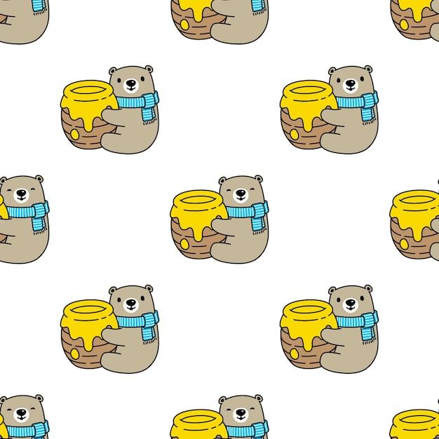 Urso polar sem costura padrão querido teddy Vetor Premium