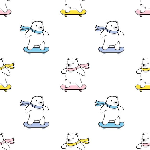 Urso polar sem costura padrão skate teddy Vetor Premium