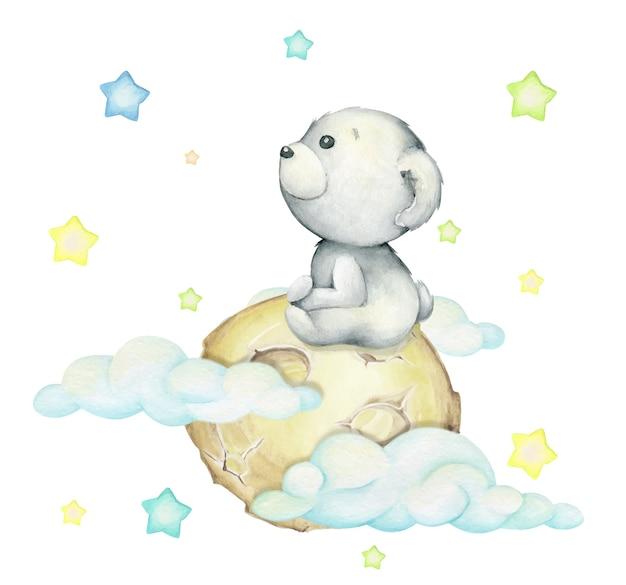 Urso polar, sentado na lua, rodeado por nuvens e estrelas. conceito de aquarela sobre um fundo isolado, em estilo cartoon. Vetor Premium