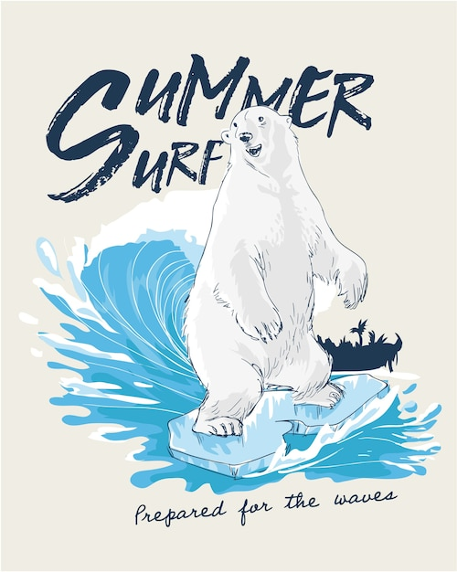 Urso polar surfando na ilustração da onda Vetor Premium