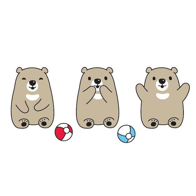 Urso polar teddy ball cartoon icon Vetor Premium