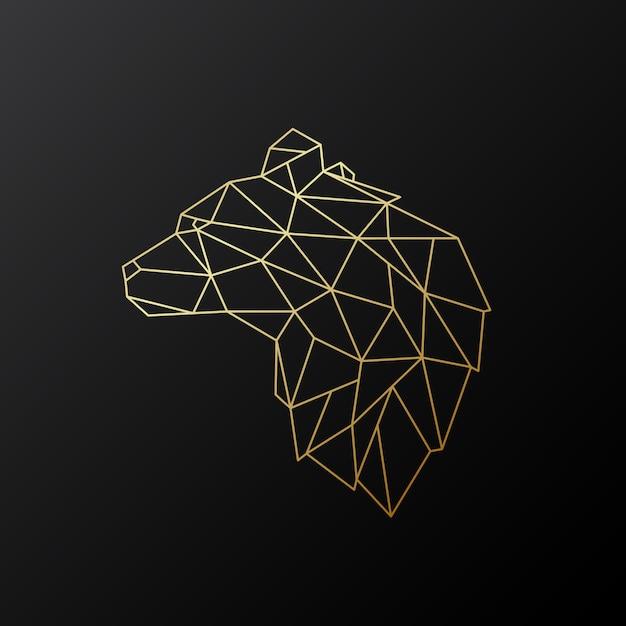Urso poligonal dourado. Vetor Premium