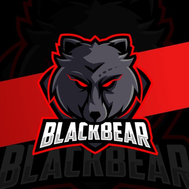 Urso preto mascote esport design de logotipo Vetor Premium