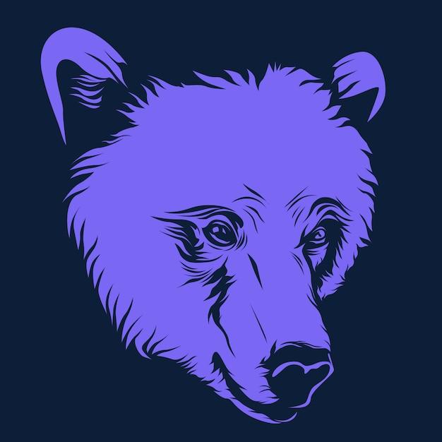 Urso, rosto, ilustração Vetor Premium