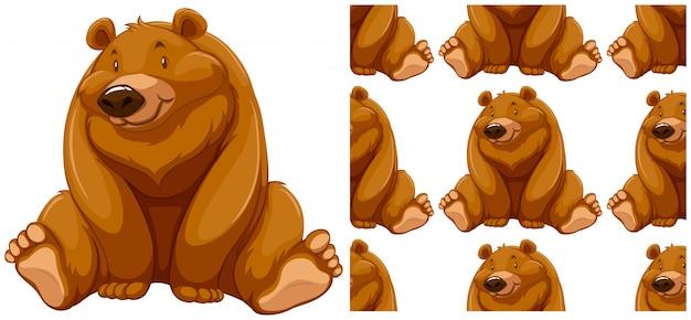 Urso sem costura padrão isolado no branco Vetor grátis
