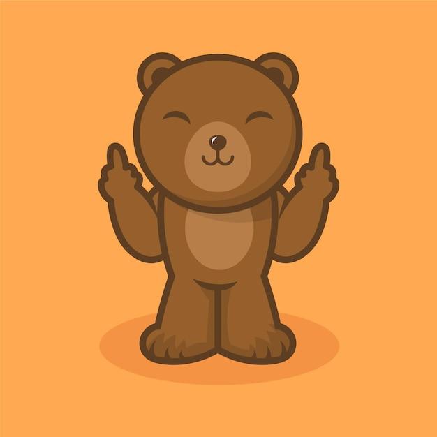 Urso sorridente mostrando o símbolo de foda-se Vetor grátis