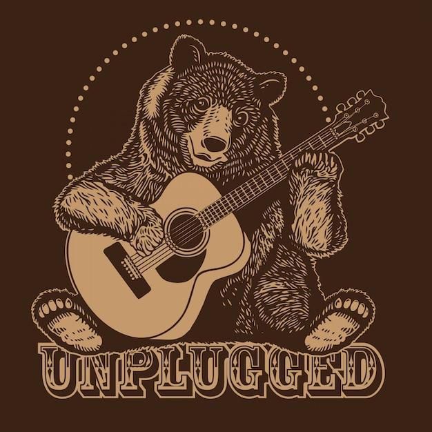 Urso tocando violão acústico Vetor Premium