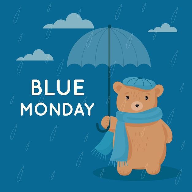 Urso triste na segunda-feira azul Vetor grátis