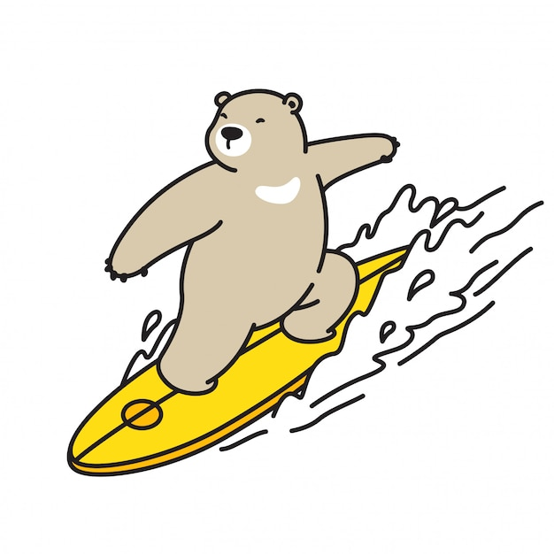 Urso vector desenhos animados de onda de surf urso polar Vetor Premium