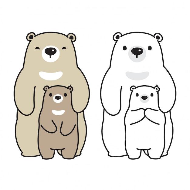 Urso Vector Personagem De Desenho Animado De Familia Urso Polar Vetor Premium