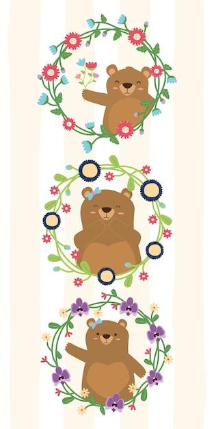 Ursos bonitos grinalda conjunto de flores de mãe urso na ilustração de quadros de flores Vetor grátis