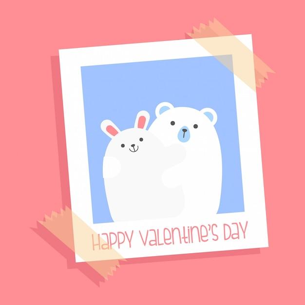 Ursos bonitos no amor - cartão para o st. dia dos namorados Vetor Premium