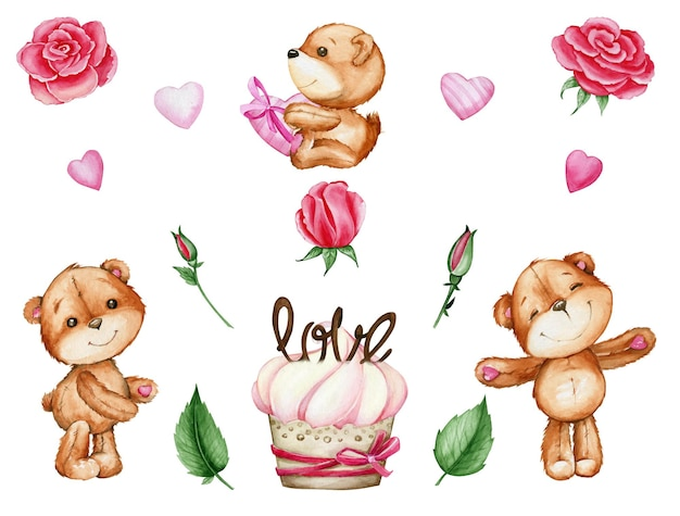 Ursos, corações, rosas, bolo. conjunto aquarela, no estilo cartoon, sobre um fundo isolado, para o dia dos namorados. Vetor Premium