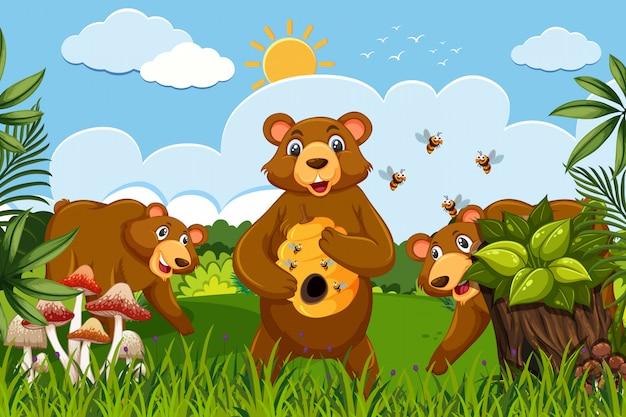 Ursos de mel na cena da selva Vetor Premium