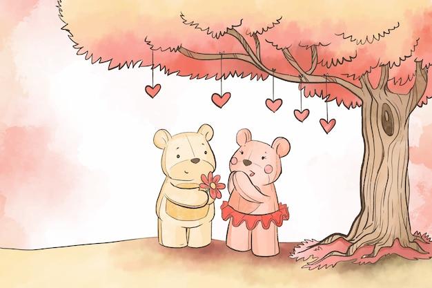 Ursos de pelúcia sob fundo de árvore dos namorados Vetor grátis