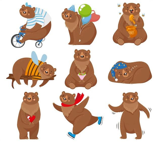 Ursos Dos Desenhos Animados Urso Feliz Urso Come Mel E Urso Pardo Personagem Na Ilustracao De Poses Engracadas Vetor Premium