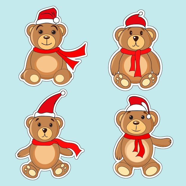 Ursos, marrom, adesivos, em, natal, chapéus, papai noel Vetor Premium