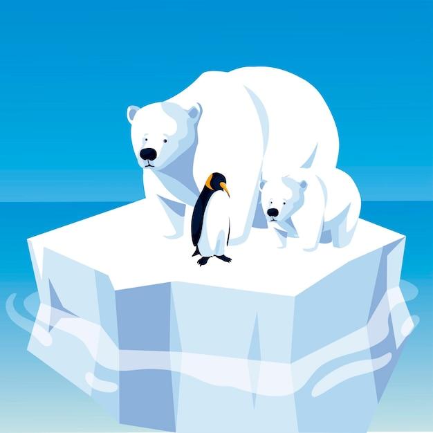 Ursos polares e pinguins flutuando no iceberg do pólo norte Vetor Premium