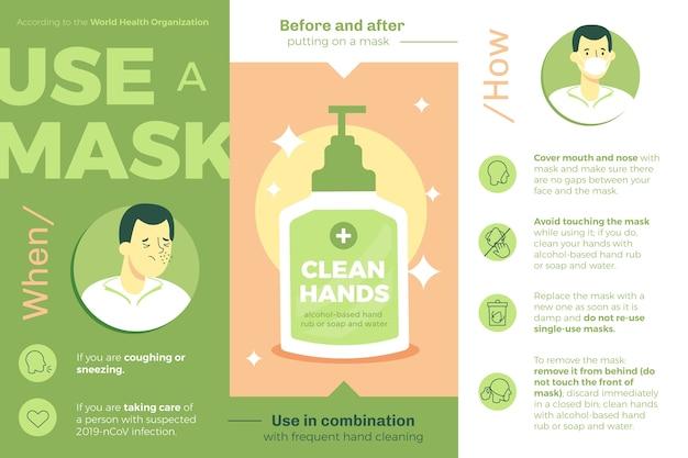 Usando dicas de infográfico de máscara cirúrgica Vetor grátis
