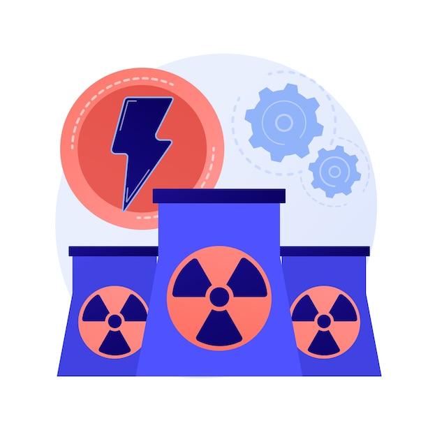 Usina nuclear, reatores atômicos, produção de energia. fissão do átomo, processo atômico. metáfora de geração de carga elétrica nuclear Vetor grátis