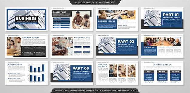 Uso de modelo de layout de apresentação de negócios minimalista para relatório anual Vetor Premium