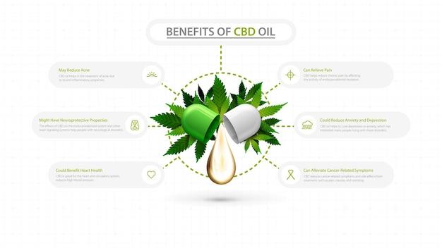 Usos médicos para infográfico de óleo cbd Vetor Premium