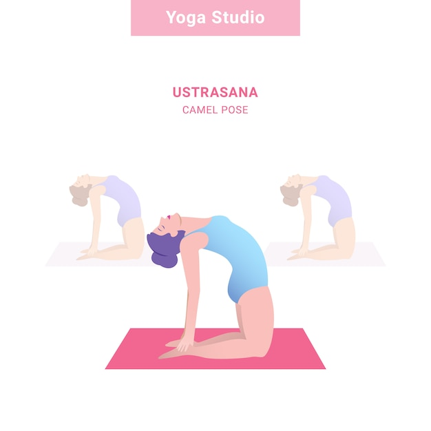 Ustrasana, pose de camelo. estúdio de ioga. Vetor Premium