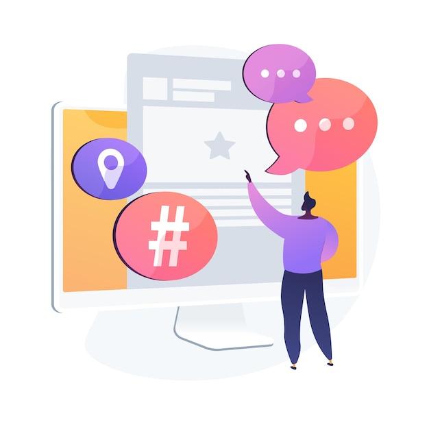 Usuário da plataforma de microblogging. comunicação em mídias sociais, ferramenta de blogueiros, compartilhamento de mensagens curtas. compartilhamento de postagem do microblogger, comentários, discussão. ilustração vetorial de metáfora de conceito isolado Vetor grátis