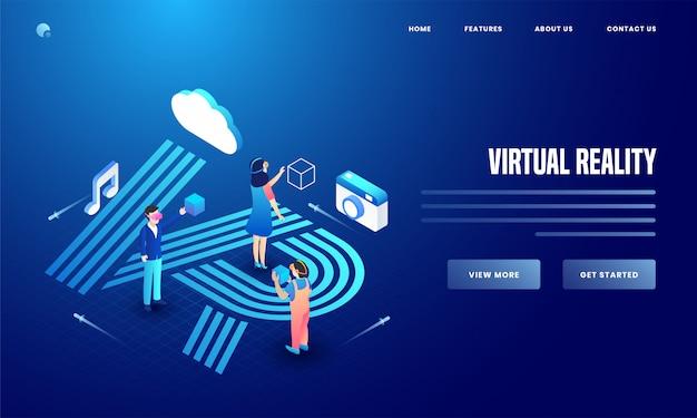 Usuário que utiliza ferramentas de mídia social e de análise de notas de câmera, nuvem e música para o design da página de destino do site de realidade virtual. Vetor Premium