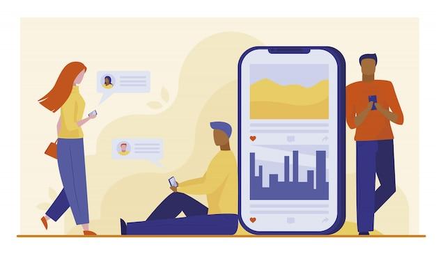 Usuários de smartphones conversando on-line Vetor grátis