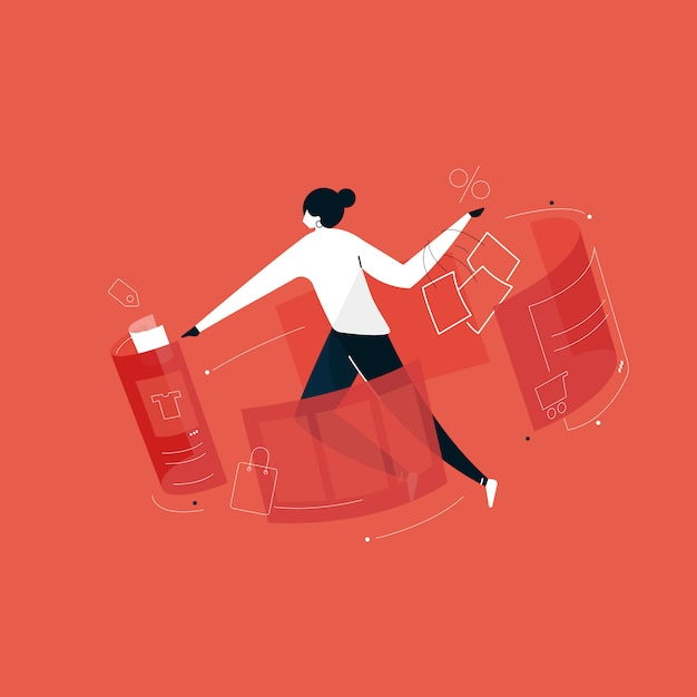 Usuários fazendo compras on-line com ilustração de realidade aumentada, compras on-line em casa Vetor Premium
