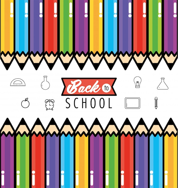 Utensílios das cores dos lápis para suportar o fundo da escola Vetor Premium