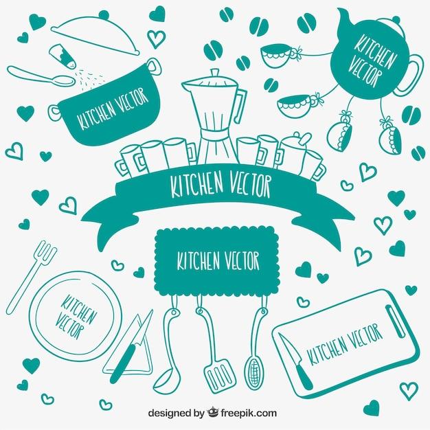 Utens lios de cozinha bonito no estilo desenhado m o for Elementos de cocina para chef