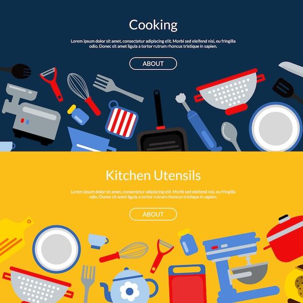 Utensílios de cozinha de estilo plano banners web horizontais ou ilustração de página de destino Vetor Premium