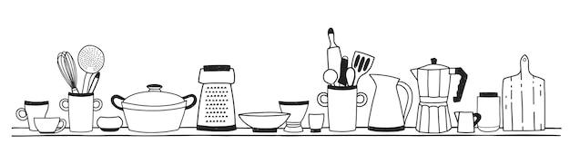 Utensílios de cozinha doméstica para cozinhar, ferramentas para preparação de alimentos ou panelas na prateleira desenhada à mão Vetor Premium