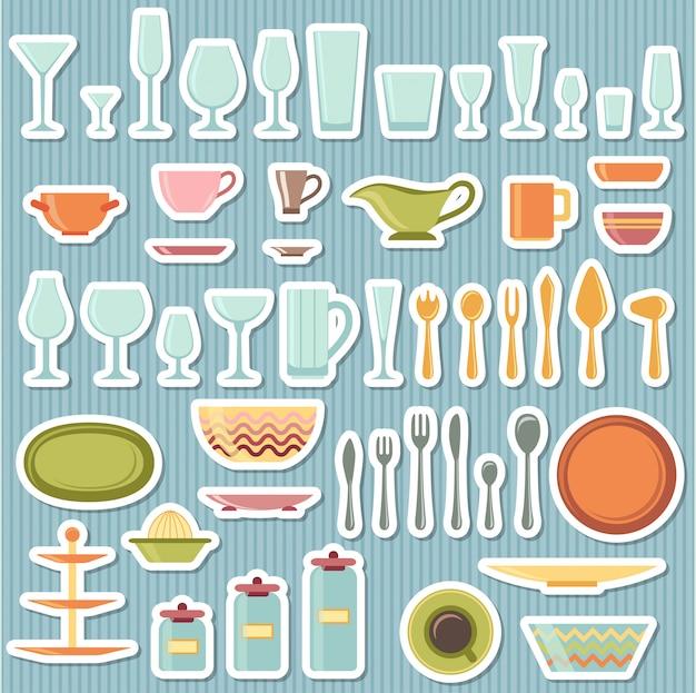 Utensílios de cozinha e conjunto de ícones de panelas Vetor Premium
