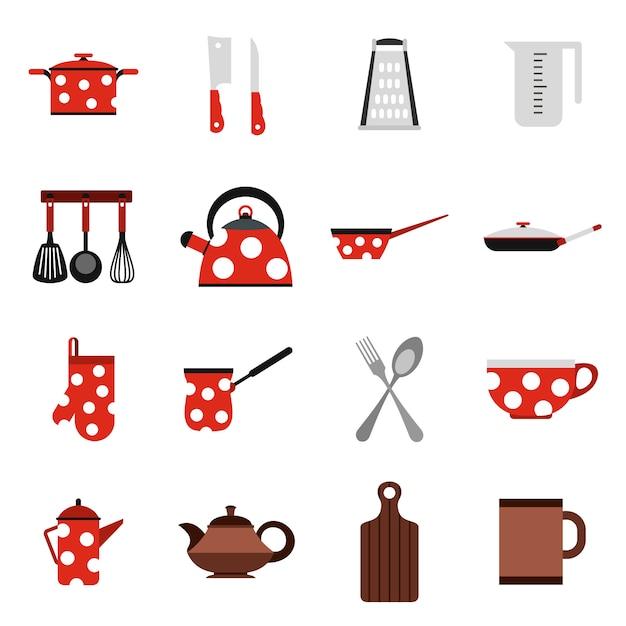 Utensílios de cozinha e ícones de utensílios Vetor Premium