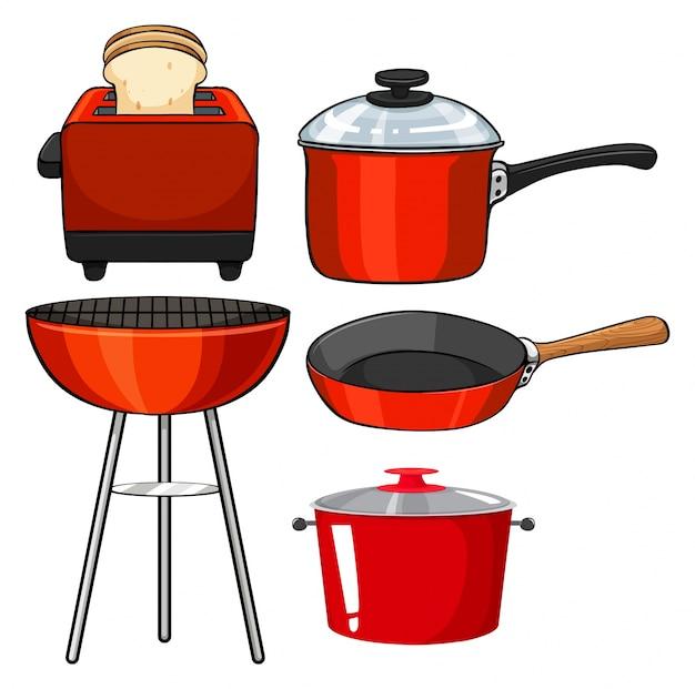 Utens lios de cozinha em ilustra o de cor vermelha for Utensilios de cocina logo