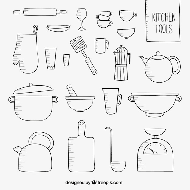Utens lios de cozinha esbo ado baixar vetores gr tis - Utensilios de cocina para pintar ...