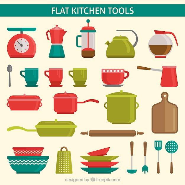 Utensílios de cozinha planas coloridas Vetor grátis