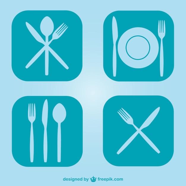 Utensílios de cozinha planas símbolos livres Vetor grátis