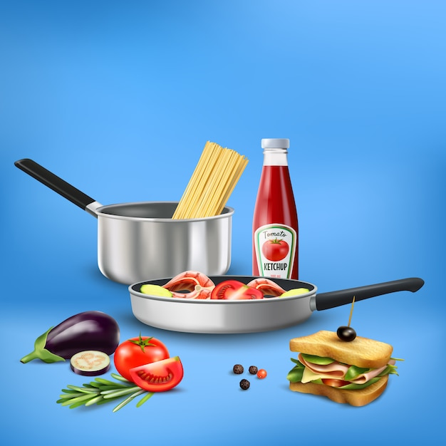 Utensílios de cozinha realista com alimentos produtos massas legumes composição de peixes no azul Vetor grátis