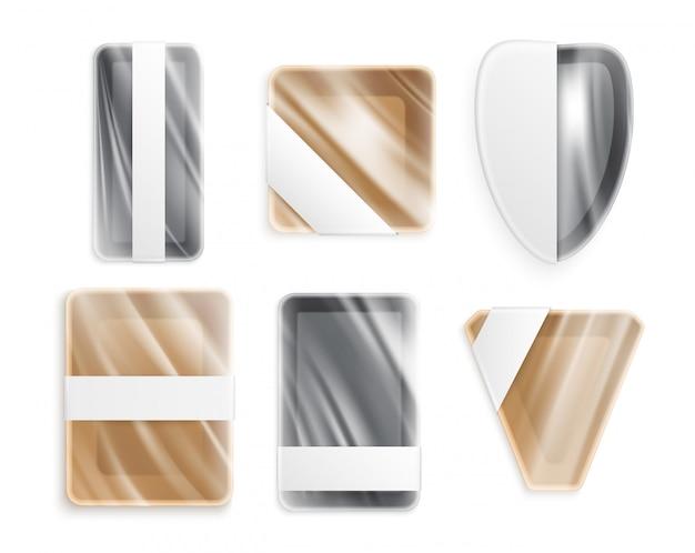 Utensílios de metal ou cerâmicos de plástico de formas diferentes, embalados em embrulho de polietileno isolado ícones conjunto realista Vetor grátis
