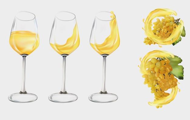 Uvas brancas realistas. copo de vinho transparente com vinho branco. uvas para vinho, uvas de mesa com respingo de vinho branco. ilustração Vetor Premium