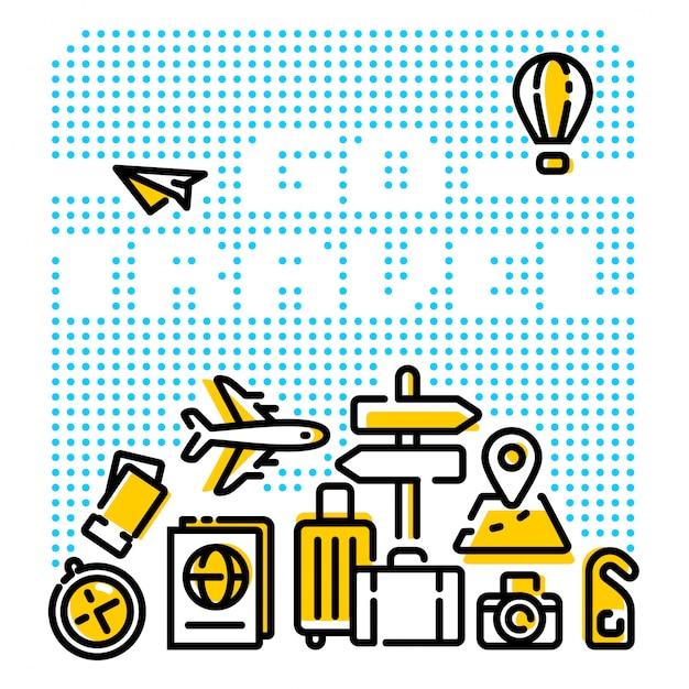 Vá viajar ilustrações de linha moderna Vetor Premium