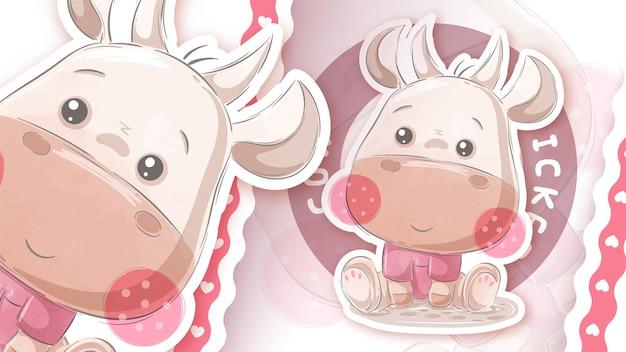 Vaca de pelúcia fofa - ideia para o seu adesivo Vetor Premium
