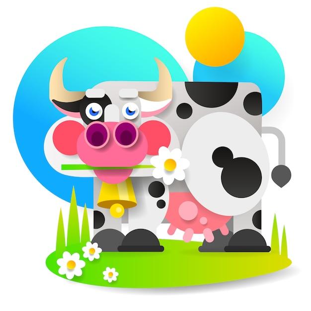 Vaca dos desenhos animados Vetor Premium