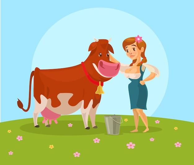 Vaca e leiteira. Vetor Premium