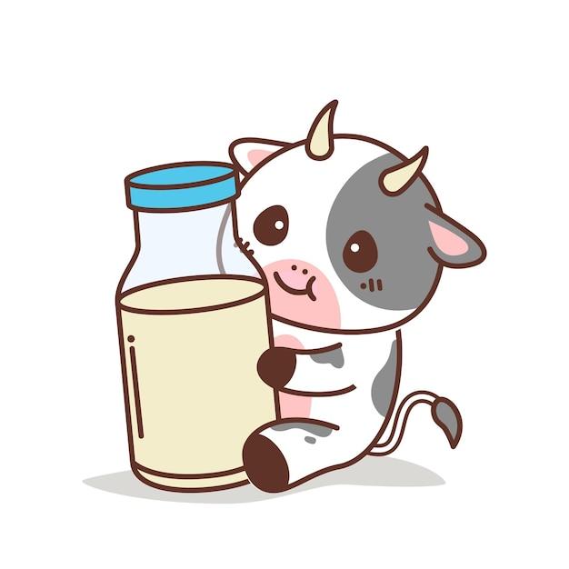 Vaca fofa segurando uma garrafa de leite Vetor Premium