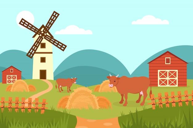Vaca no fundo da paisagem rural de verão, fazenda e moinho de vento ilustração em grande estilo Vetor Premium
